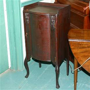 Art Nouveau music cabinet, mahogany, carved lions o