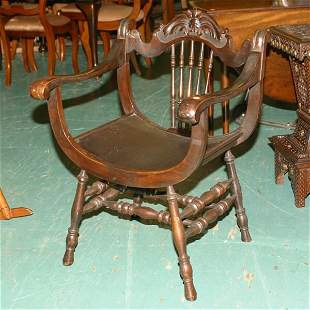 Victorian parlor chair, mahogany, open arm, saddle