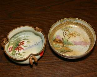 """Two oriental procelain bowls, 1 - footed 6"""" bowl, p"""