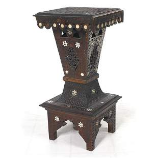 19th century Anglo/Indian pedstal, solid teak, over