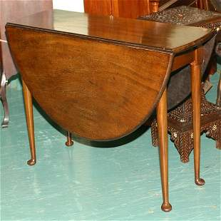 Queen Anne drop leaf table, English, solid mahogany