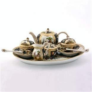 Fine porcelain tete-a-tete tea set with tray, 6 pc,