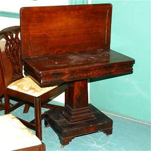 Circa 1830 fold-over card table, solid and flame ma