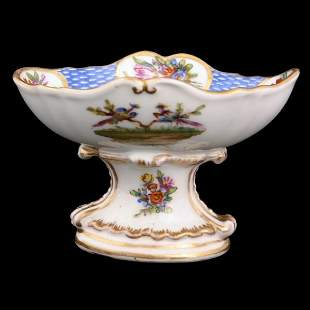 Porcelain pedestal salt, large blue underglaze mark