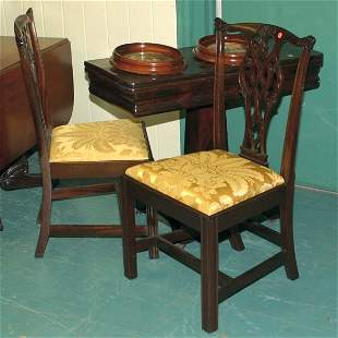 Pair of fine 19th century Chippendale chairs, scrol