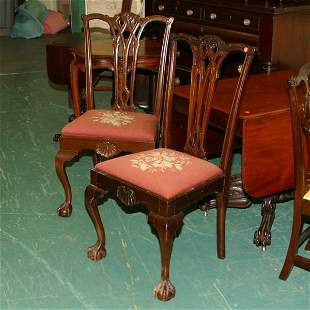 Pair of Chippendale revival dining chairs. Solid ma