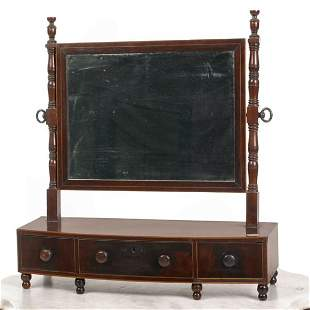 Early 1800 Sheraton shaving mirror, original paper