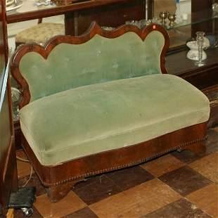 c. 1840 Empire slipper/footboard sofa. Flame mahoga