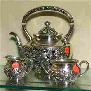3 piece sterling Rococo tea set, Gorham hallmarks,