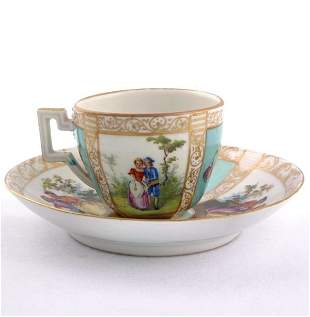 Lot of three French porcelain cups and saucers, (1)