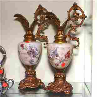 Pair of Victorian mantle ewers, probably Wavecrest,