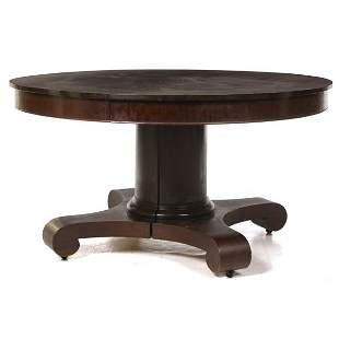 "c. 1900 Empire Revivial 54"" dining room table, maho"