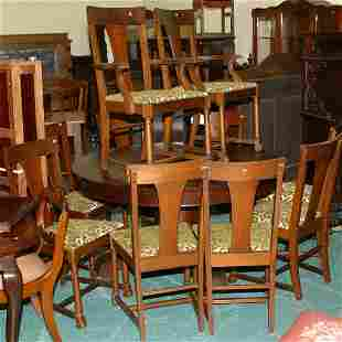 Set of ten Empire revival dining chairs, striped wa