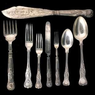Silverplate 41 piece flatware set, Kings pattern, n