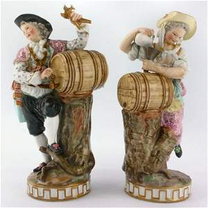 """132: Pair of early Meissen 6 1/2"""" tall figures, possibl"""