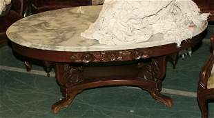 Reproduction Victorian coffee table, oval white ma