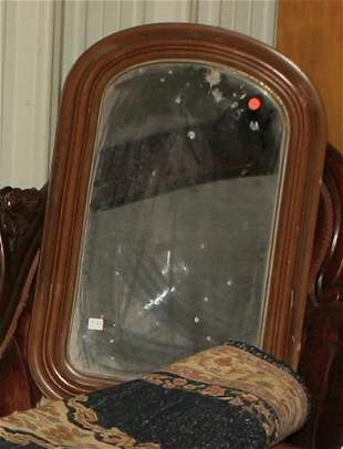Victorian wall mirror, moulded frame, arched top,