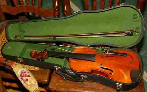 """151: Violin with case, """"Mansuy"""", by Musicians Supply"""