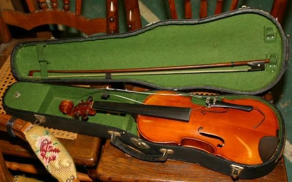 "151: Violin with case, ""Mansuy"", by Musicians Supply"