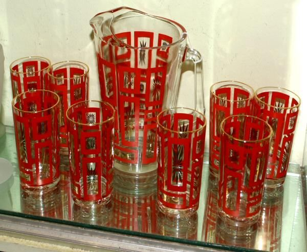 200: Lot of two mid 1900's water sets. (1)Pitcher/eigh