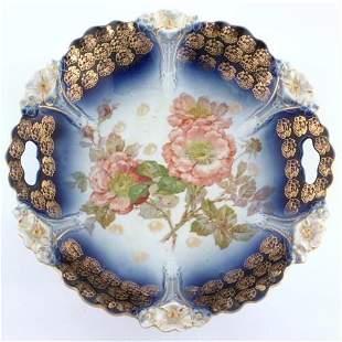 Lot of four platters/plate, flowing blue/handpaint