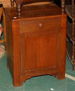 19th century country half commode, softwood, drawe