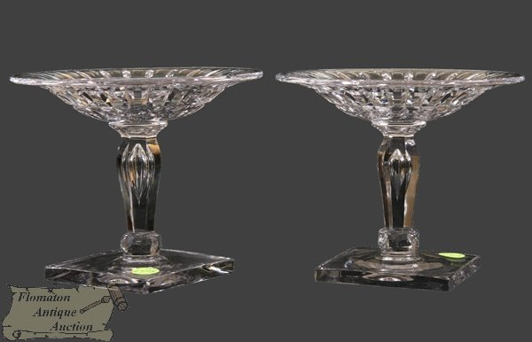 1: Pair of heavy cut glass compotes signed Hawkes, eleg