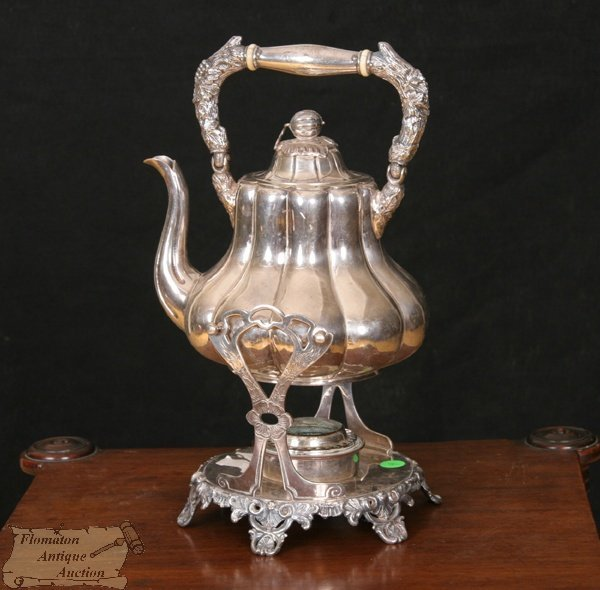 4: Rococo silver on copper water kettle on stand, melon