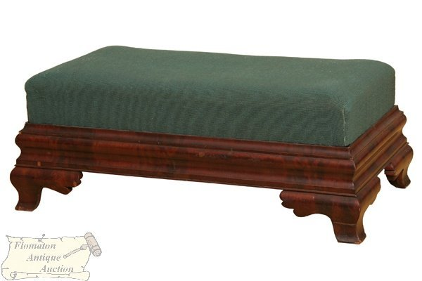 5: Hard to find 1840 Empire double ottoman, flame mahog