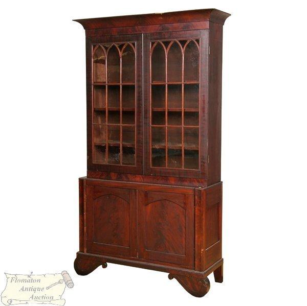 6: Hard to find 1830 Empire breakfront bookcase, matche
