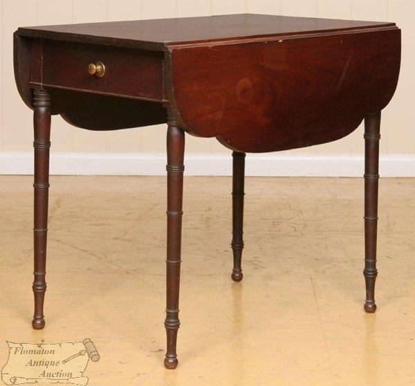 9: Early 1800 Sheraton Pembroke table, solid mahogany,