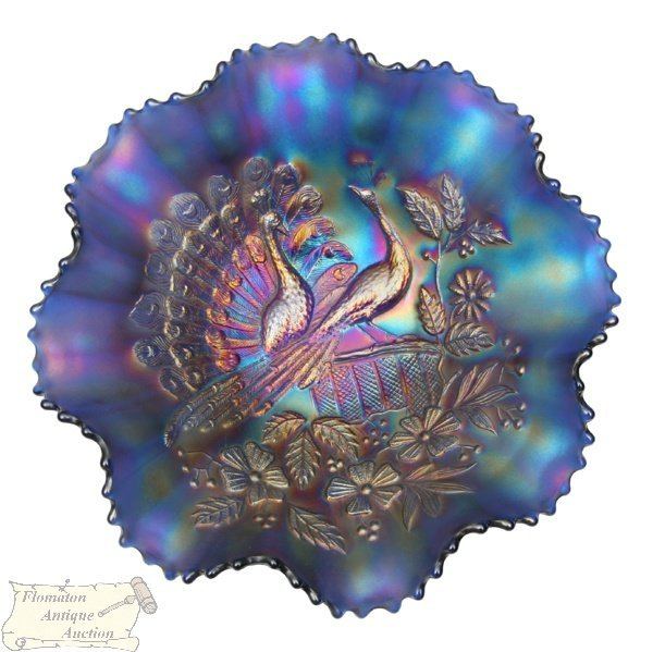 15: Early 1900 carnival glass bowl, Northwood, Peacocks