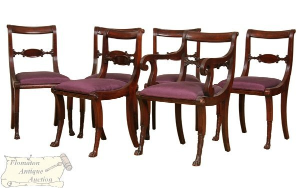 20: Set of seven mid 1900 Federal style dining chairs,