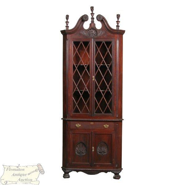 22: Late 1800 Chippendale Revival corner cupboard, soli