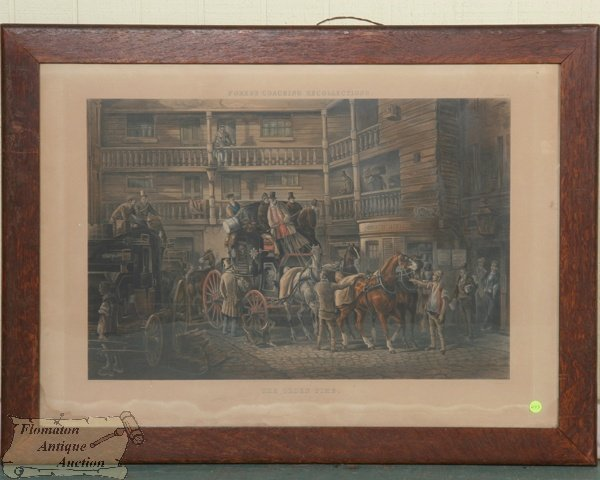 """23: Large 19th century print, """"The Olden Time, Fores's"""