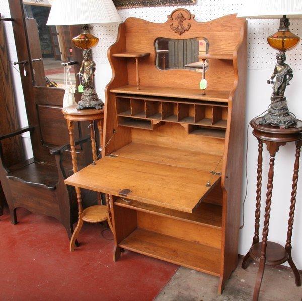 1003: C1900 Larkin dropfront desk, oak, shelf and mirro - 2
