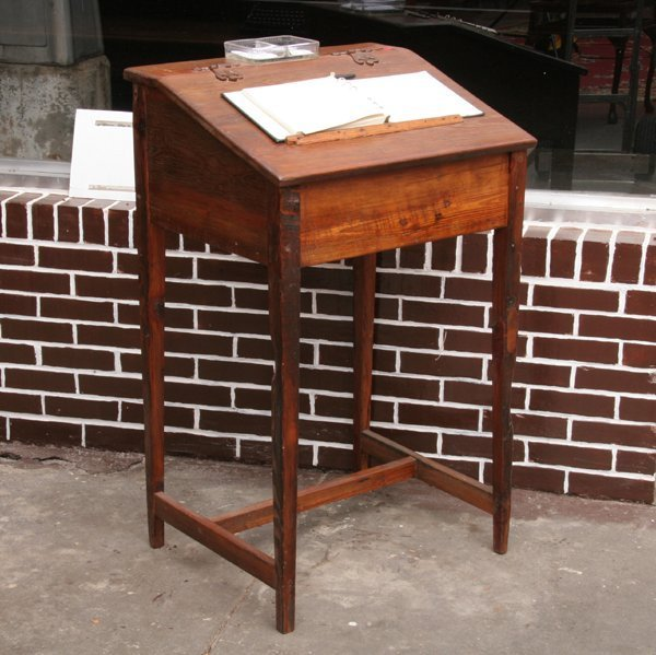 1009: Contemporary standup writing desk made from antiq