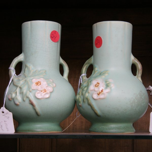 "1024: Lot of two pottery vases, Weller C4, 7""t. Glazed"