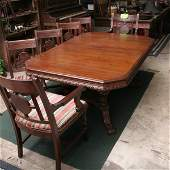1074: 1930 art deco period dining table, walnut, carved