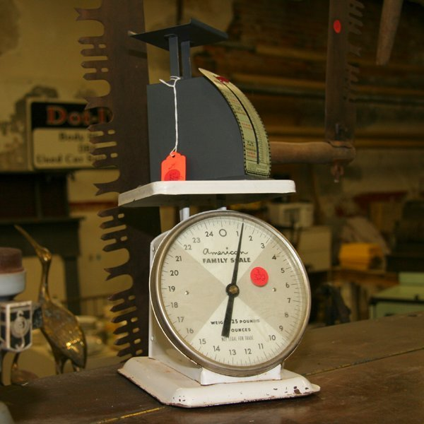 1322: Lot of three scales, 1) hanging produce scales, 2