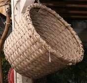 1331: Old cotton basket, split oak. Some damage.