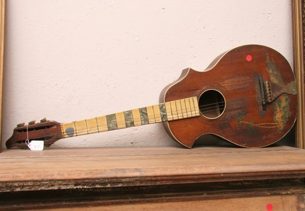 """1335: Old guitar, 37""""l. As is."""