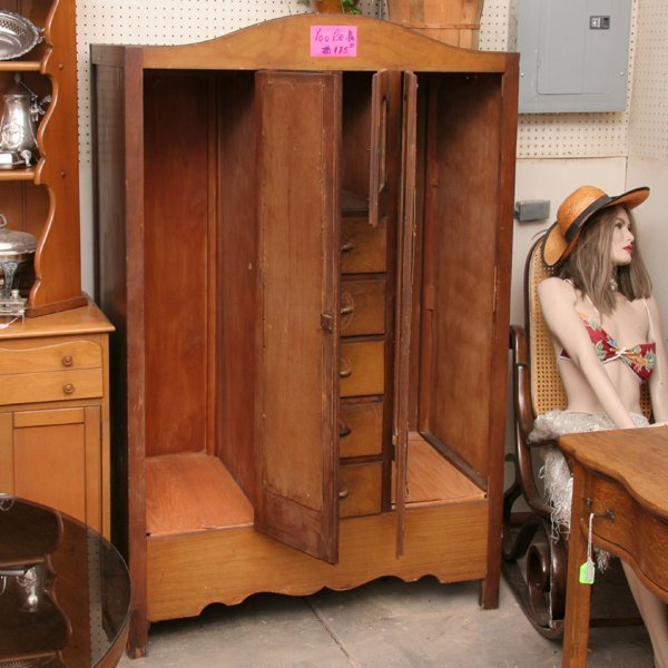 1342: Double mirrored door chifferobe, center drawers,  - 2
