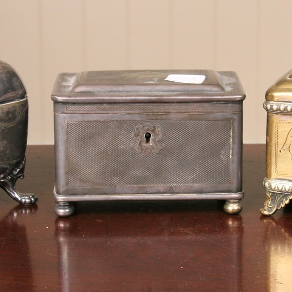 "1: Circa 1900 silverplate tea caddy, touchmark ""Art.Kru"