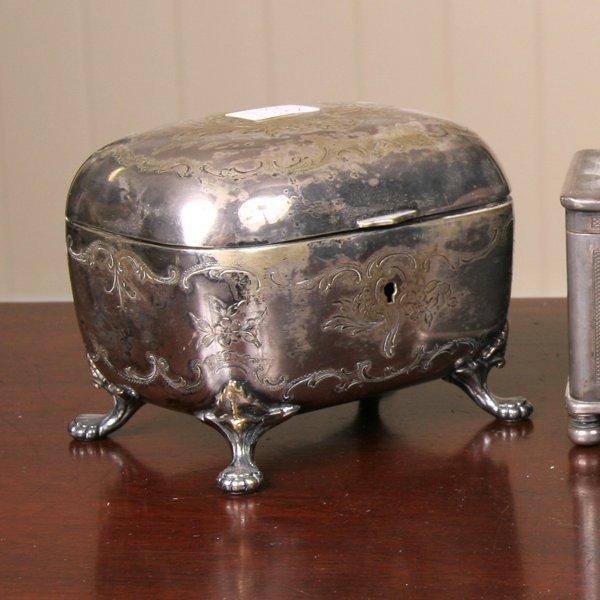 2: 19th century Rococo style tea caddy, silverplate on