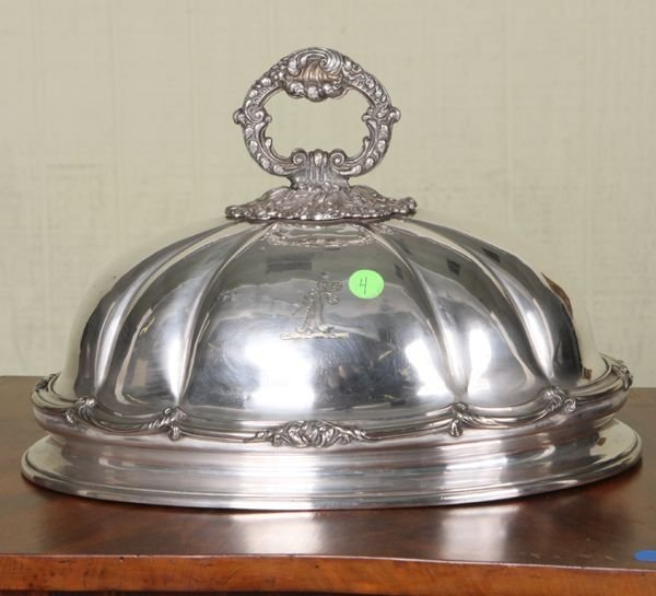 """4: Early 19th century dome, Sheffield plate, 14"""" oval,"""