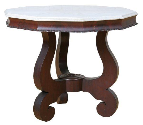 5: 1840 Empire center table, flame mahogany, white marb