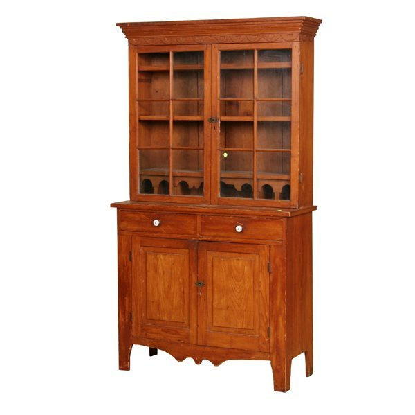 8: Small early 1800 two part cupboard, pine, two drawer