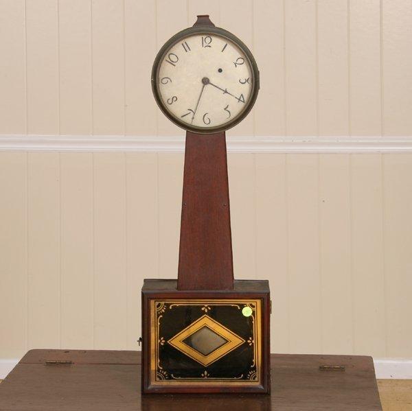 9: Early 1800 banjo wall clock, mahogany, period brass