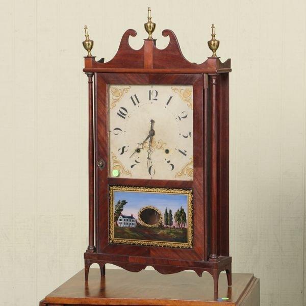 "10: Early 1800 pillar and scroll shelf mantle clock, ""E"